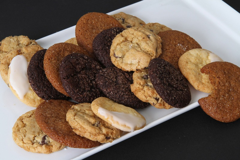 platter of various cookie flavors for dessert