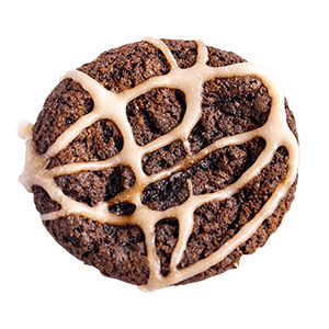 chocolate cookie with swirls of frosting on top