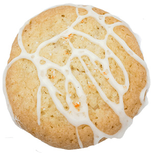sugar cookie with orange vanilla icing swirled on top